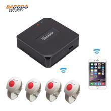 Sistema de alarme de cuidado para idosos sos, pulseira com botão de alarme de emergência para rf e 433mhz, notificação de aplicativo para android e ios