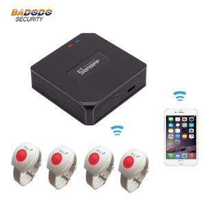 Image 1 - WiFi SOS ältere care alarm system mit RF 433MHz SOS Notfall Alarm taste Uhr Armband Android iOS APP benachrichtigung