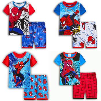Chłopiec piżamy letnie bawełniane ubrania dla dzieci dziewczyny zestaw Spiderman Iron Man Cosplay krótki rękaw Cothes zestawy krótki rękaw Party prezent tanie i dobre opinie Ligentleman Spodnie Film i TELEWIZJA Unisex Other Syntetyczny