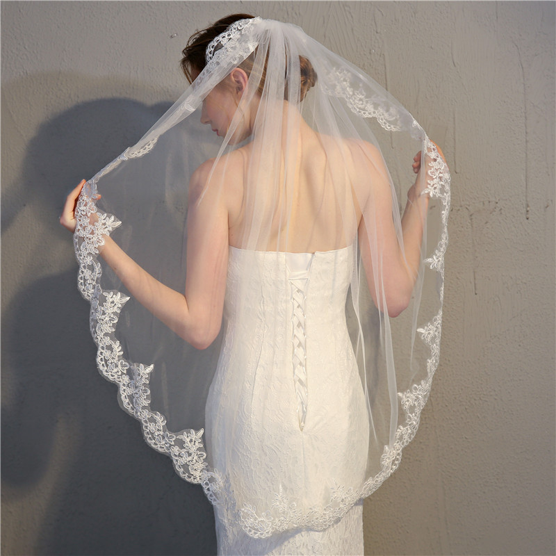 HS Kellio Short Veils Lace Edge One Layer Wedding Veil With Comb 2020