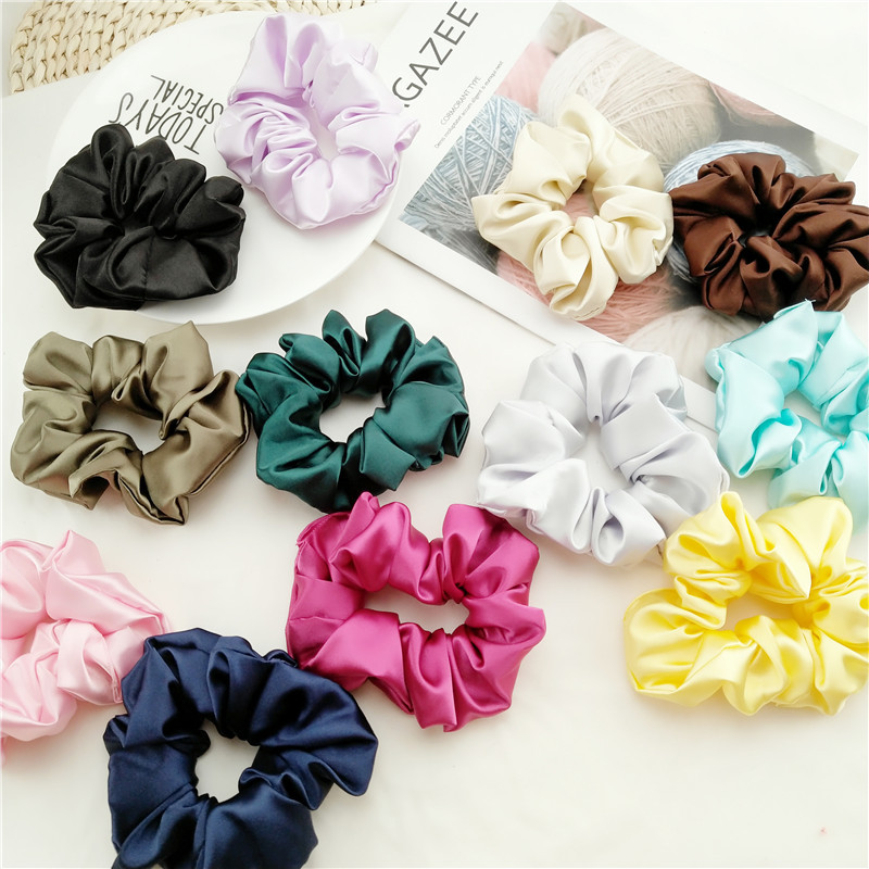 Fashion Women Faux Silk Solid Scrunchies Lady Simple Elastic Headbands Satin Hairbands Girls Hair Tie Hair Rope Hair Accessories