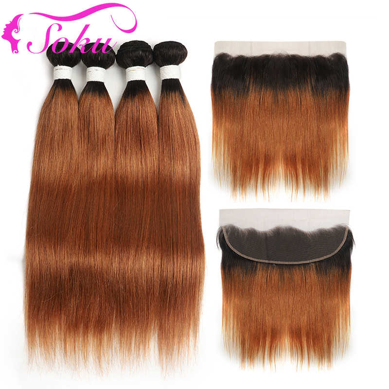 Brazilian Straight Human Hair Bundles With Frontal 13x4 SOKU T1B/30# Ombre Brown Hair Weave Bundles With Closure Non-Remy Hair
