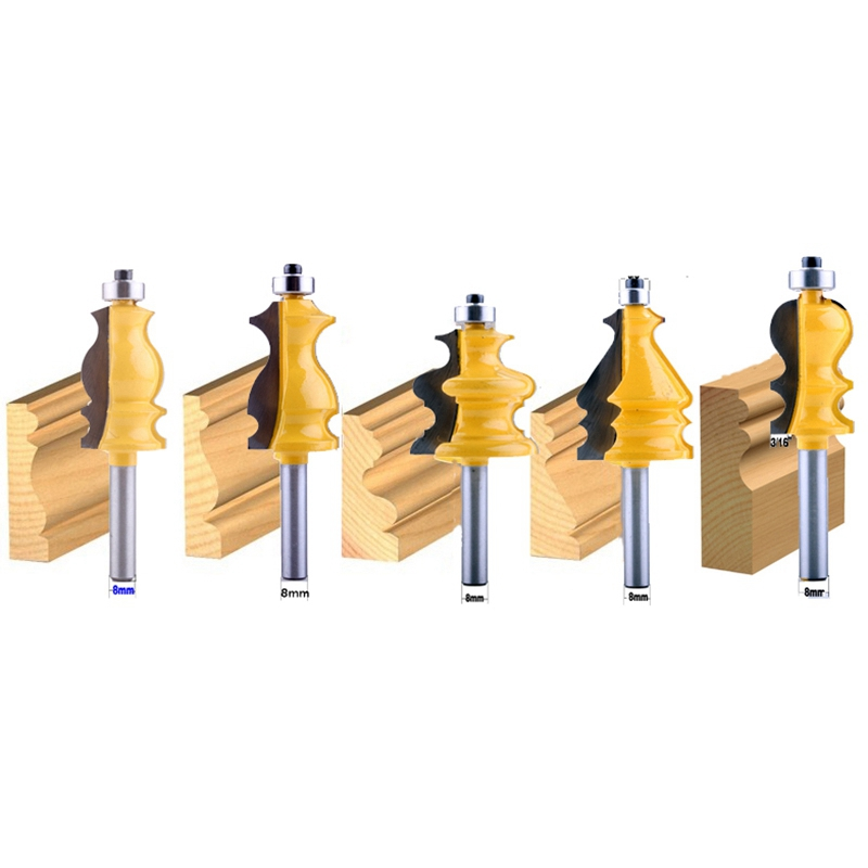 5 adet 8Mm Shank gövde ve taban kalıplama yönlendirici Bit seti Cnc hattı bıçak ağaç İşleme kesici Tenon kesici için ağaç işleme aletleri