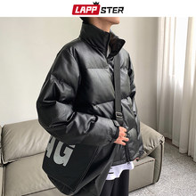LAPPSTER PU Black Streetwear Winter Jacket Men 2019 Mens Korean Puffer Jackets Coats Male Harajuku Thick Hip Hop Warm Parka 3XL(China)