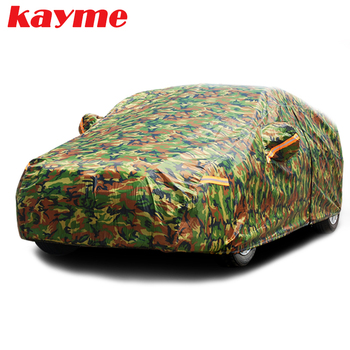 Kayme waterproof camouflage car covers outdoor sun protection cover for car reflector dust rain snow protective suv sedan full car covers size s m l xl waterproof full car cover sun uv snow dust rain resistant protection gray free shipping