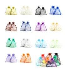 50pcs 5x7 7x9 9x12 11x16CM borsa in Organza con coulisse 24 colori decorazione della festa nuziale regalo borsa Display per confezione di gioielli