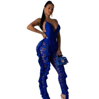Adogirl Royal Blue Women deep v neck jumpsuit sexy backless off shoulder rompers ruffles side lace patchwork club party outfits royal blue sexy v neck lace details bikini set