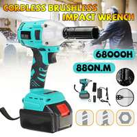 880N.m Electric Brushless Impact Wrench Rechargeable Cordless 1/2 Socket Wrench  Tool With 1 Battery|Electric Drills| |  -