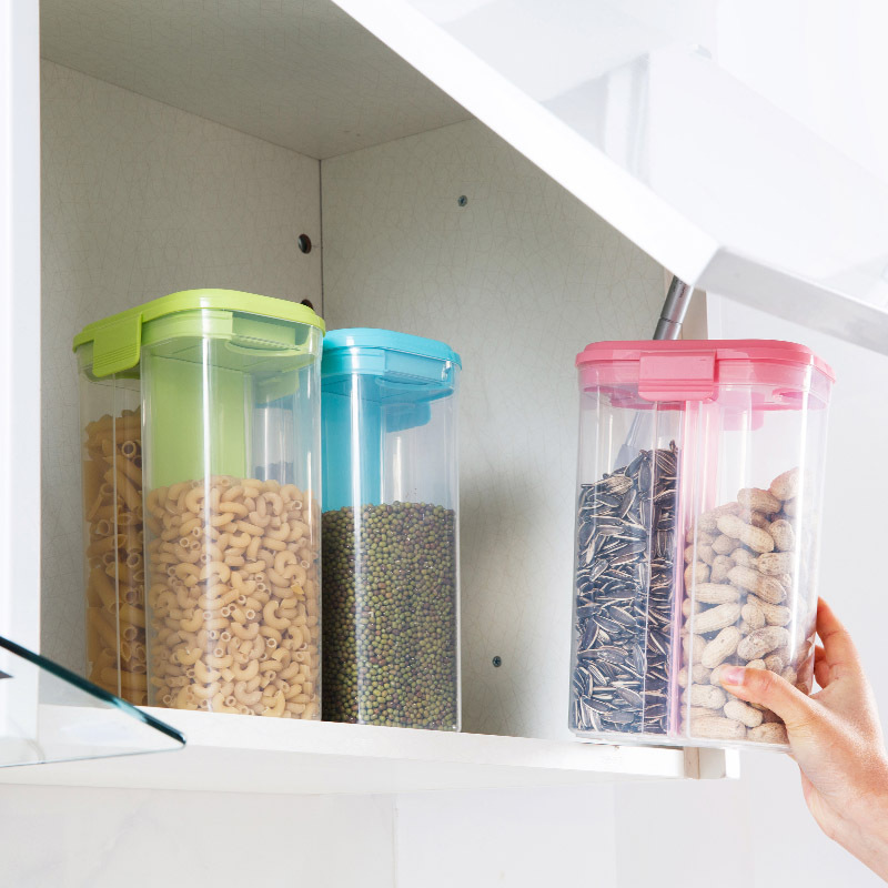Japanese Style Plastic Partition Sealed Containers Grains Grains Storage Box Kitchen Large Snacks Jar Transparent Storage Jar