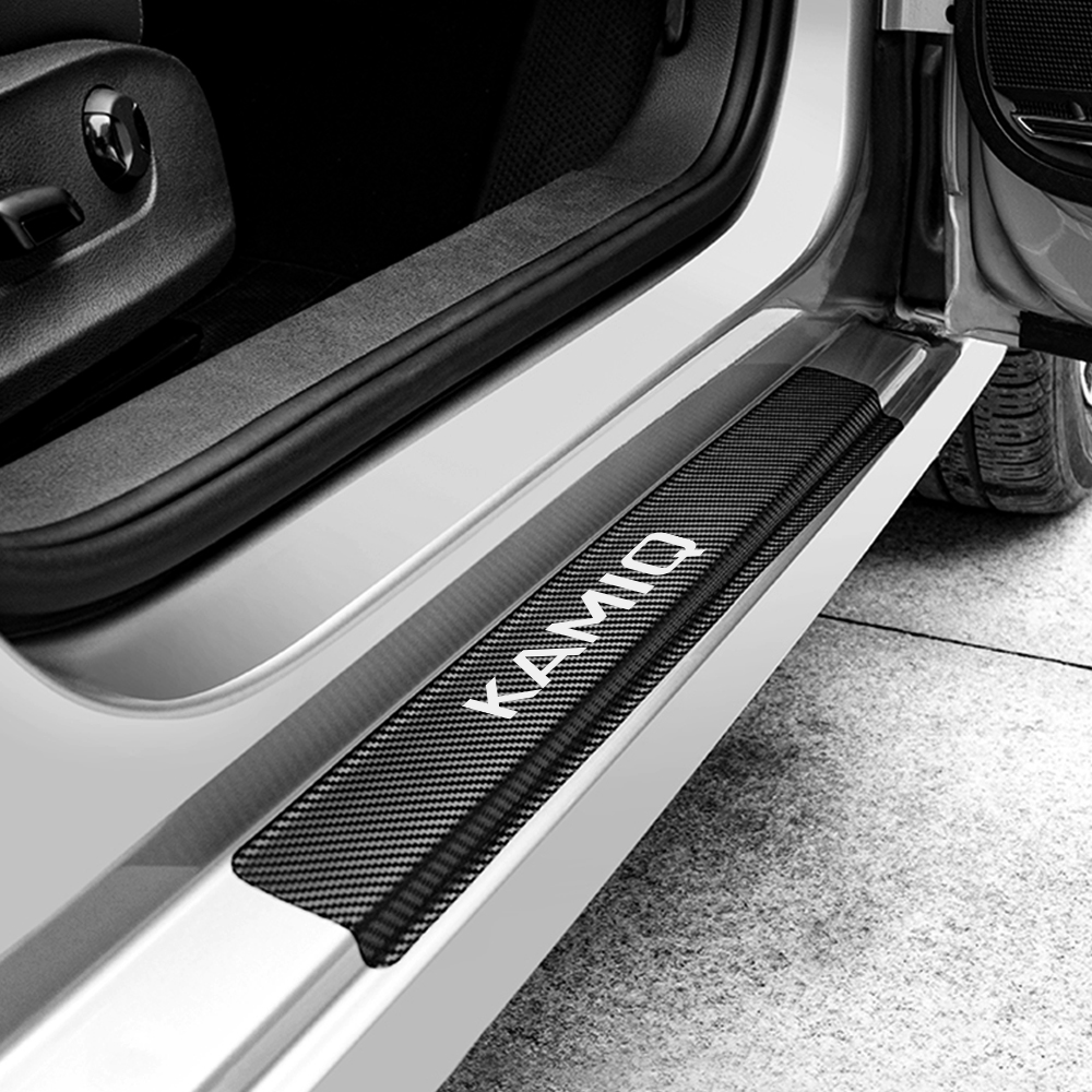 Image 2 - For Skoda Octavia 2 A7 A5 Fabia 3 Rapid Superb 3 Kodiaq Scala Karoq Kamiq 4PCS Car Door Sill Stickers Car Tuning Accessories-in Car Stickers from Automobiles & Motorcycles
