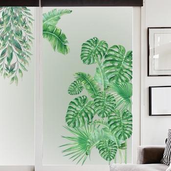 Adhesivos de ventana hoja de la planta Tropical, pegatina de pared para el hogar, habitación Interior de los niños, decoración de la habitación, papel pintado verde 2020
