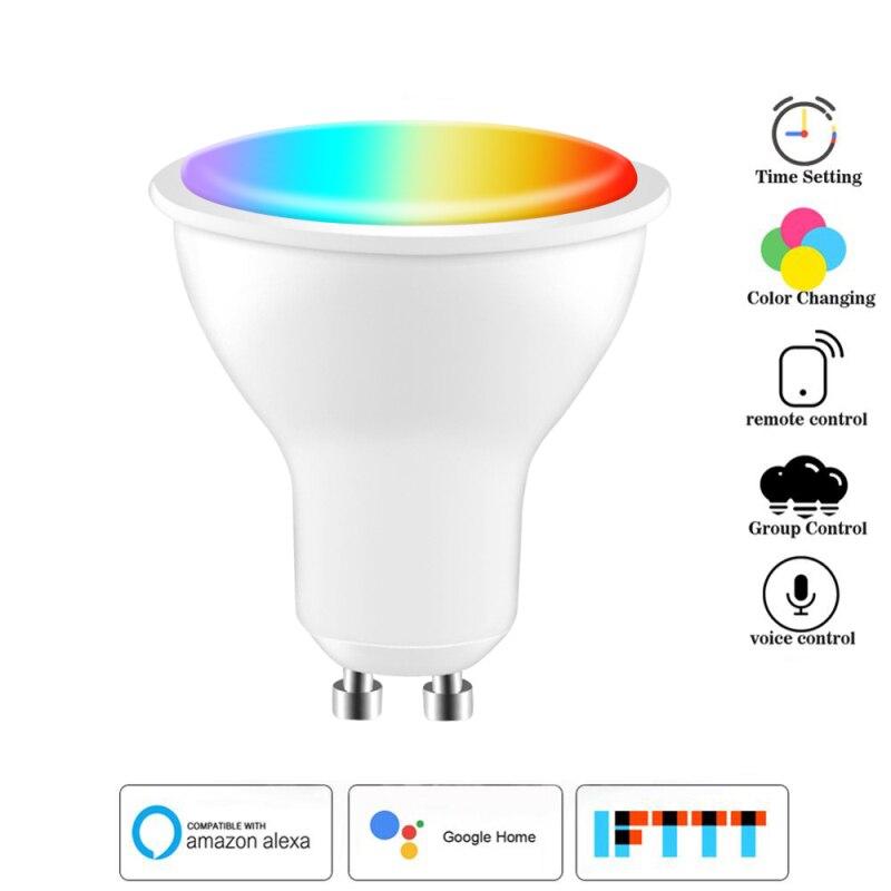 Умный прожектор Tuya, 4 Вт, Wi-Fi, Gu10, RGB, с пятью направлениями (2700K-6500K), с поддержкой Amazon Alexa Echo и Google Home, лампы с голосовым управлением
