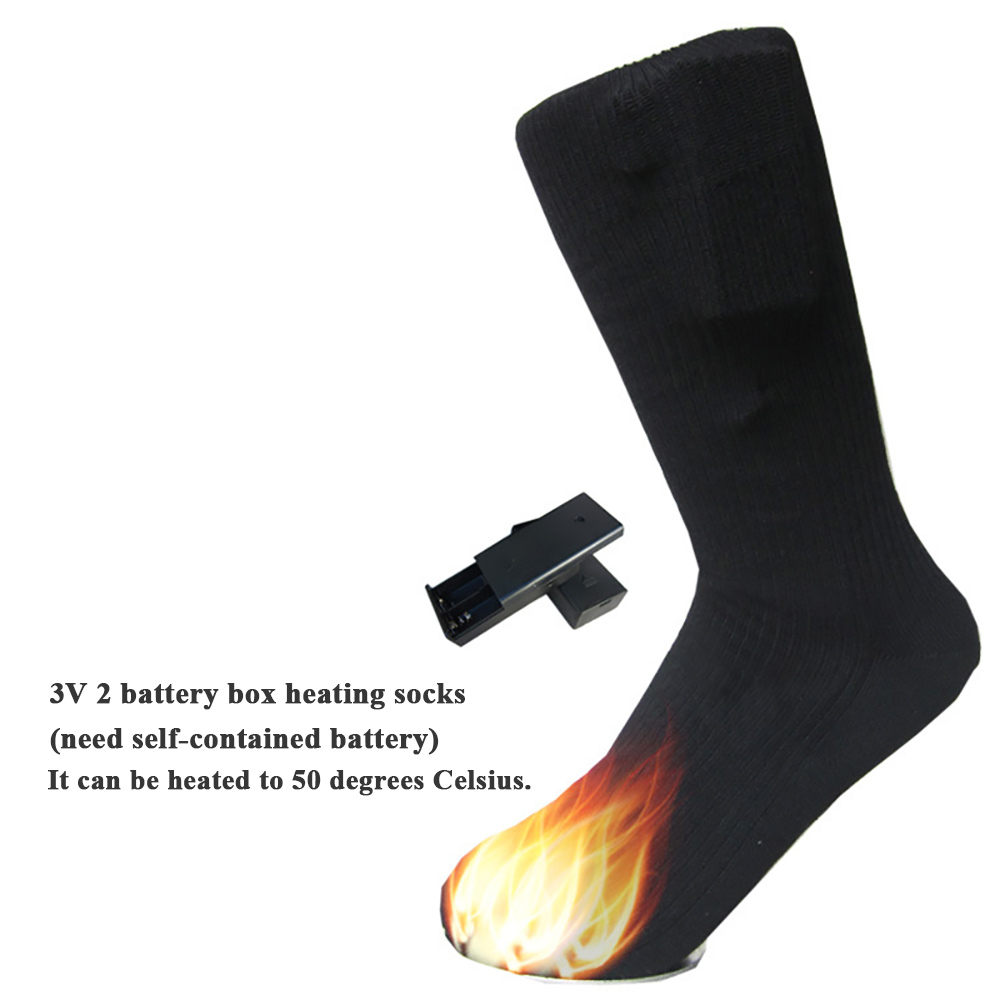 1pair Heated Socks Rechargeable Men Women Battery Case Battery Operated Winter Foot Warmer Skiing Socks Warming Socks