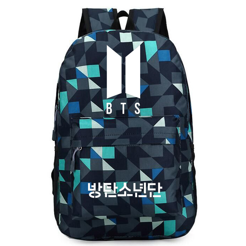 <font><b>BTS</b></font> tian zobo backpack star canvas computer bag men's and women's student bag Printed canvas fabric backpack school backpack image