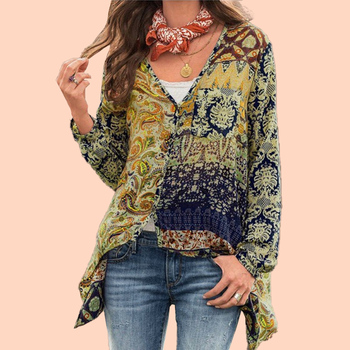 Women Blouses Floral Print Plus Size Blouse Bohemian Long Sleeve V Neck Shirts Casual Ladies Tops Vintage Haut Femme Blusas 2020 5xl oversize women blouses casual beach long sleeve v neck loose shirts plus size boho ladies top vintage print summer blusas