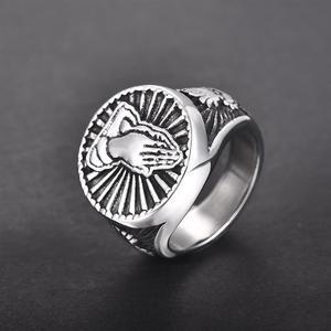 Image 2 - Gebed Handen Ringen Voor Mannen Zwart Zilver Kleur Rvs Gezegend Heilige Vintage Mannelijke Ring Religieuze Lucky Christian Sieraden