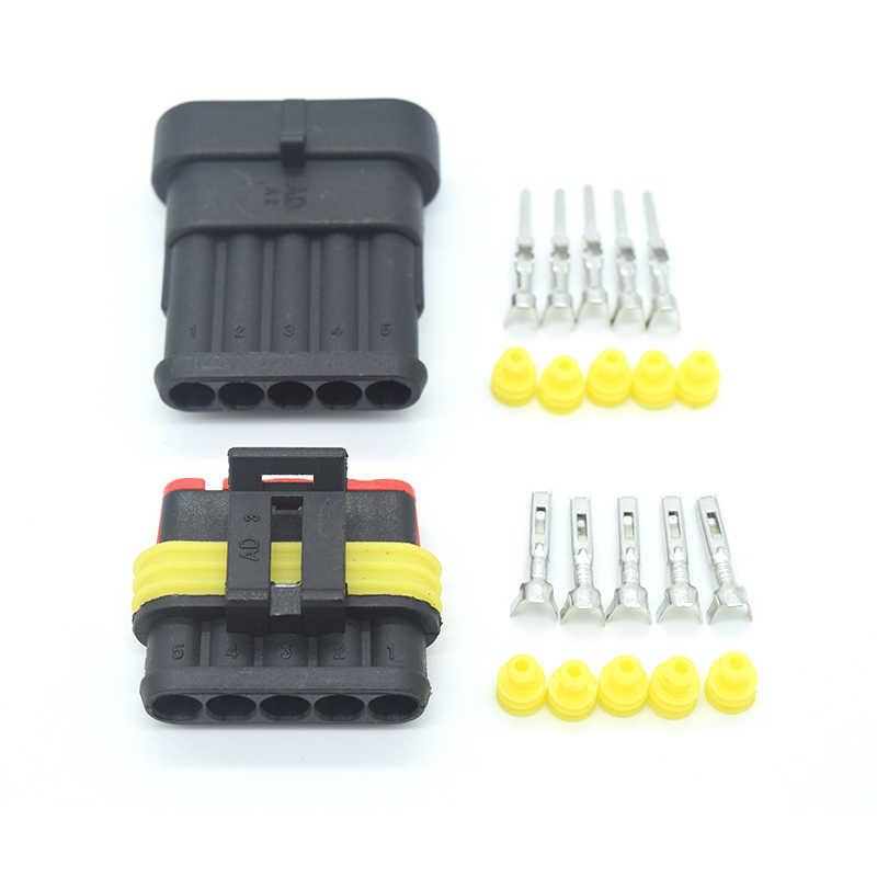 1 Kit Waterdichte Automotive Wire Connector Plug 1/2/3/4/5/6P Met zekering Elektrische Apparatuur Vrouwelijke Mannelijke Manier Amp Super Seal