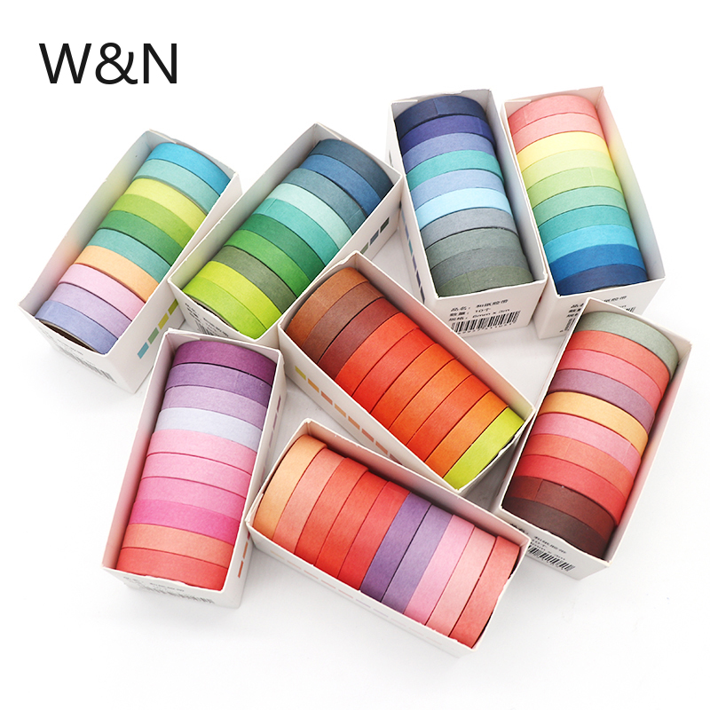 10pcs/lot  Fall Rainbow Masking Washi Tape Set Paper Masking Washi Tape Japanese Stationery Kawaii Scrapbooking Supplies Sticker