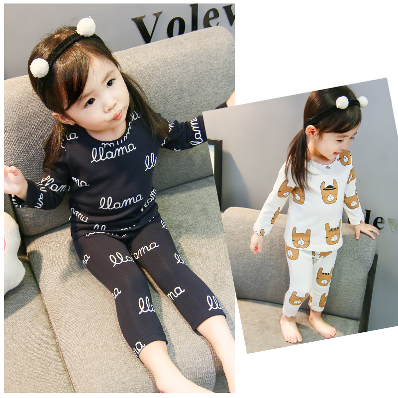 Baby Girls Tracksuit 2018 New Style Childrenswear Korean-style CHILDREN'S Cartoon Lettered Pajamas Children Long-sleeve Suit Fas