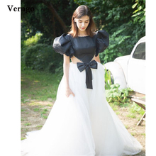 Verngo White And Black A Line Formal Evening Dresses Short Puff Sleeves Jewel Neck Pearl Tulle Skirt Satin Top Prom Gowns