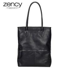 Borsa da donna classica nera Zency 100% borsa Casual quotidiana in vera pelle elegante borsa a tracolla da donna borse per la spesa grandi