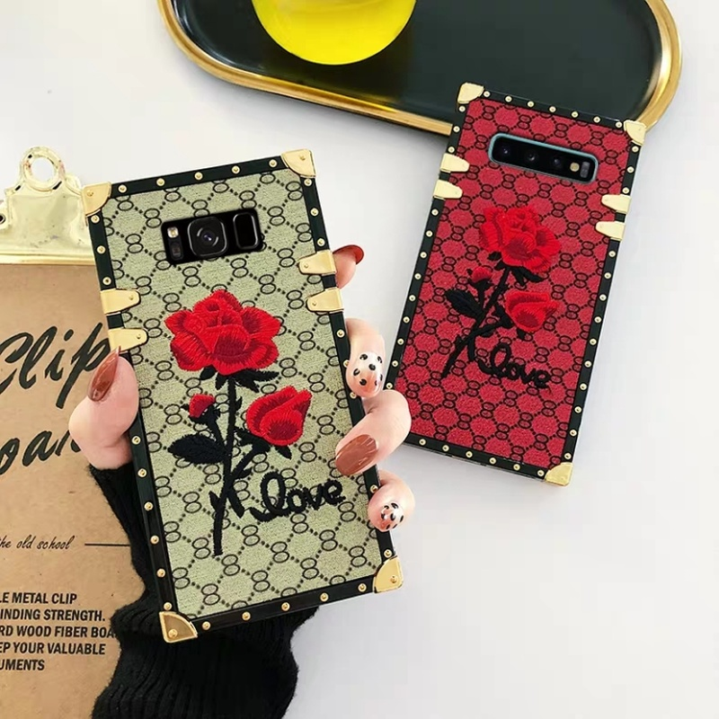 For <font><b>Samsung</b></font> <font><b>Galaxy</b></font> S10 S9 S8 Plus Note 9 A50 <font><b>A70</b></font> Square Back Cover 3D Embroidery Rose <font><b>Flower</b></font> Phone <font><b>Case</b></font> Luxury Metal Rivet Frame image