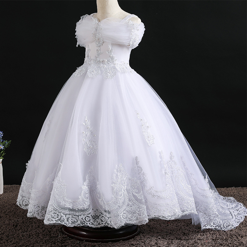 Lace Flower Girl Dresses For Girl Embroidered Ball Gown Children Wedding Party Dress Girls Princess Girl Dresses On Stock