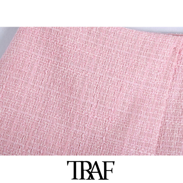 TRAF Women Chic Fashion Tweed Shorts Skirts Vintage High Waist Back Zipper Female Skort Mujer 3