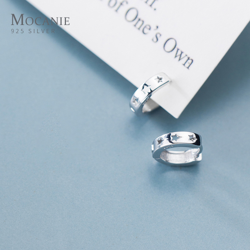 Hollow Out Star Real 100% 925 Sterling Silver Anti-Allergy Hoop Earring for Women Fashion Simple Earring Fine Jewelry