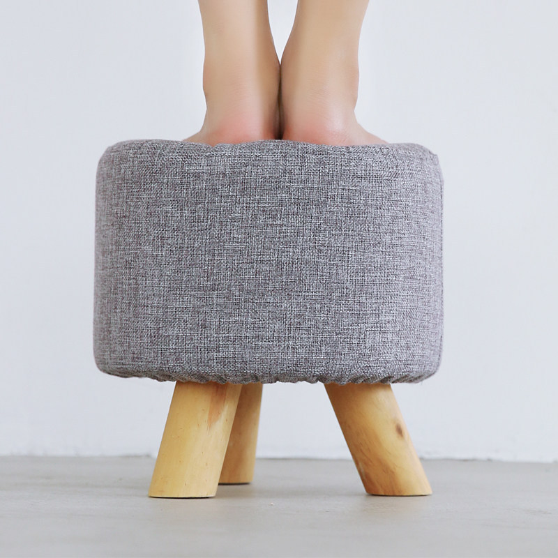 Solid Wood Footstool Creative Storage Chair Fabric Small Stool Sofa Stool Teapoy Table Bench Household Low Stool