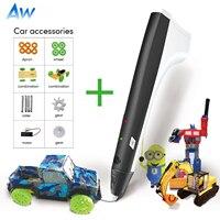 AW M1 3D 인쇄 펜 원래 DIY 3D 펜 자동차 세트 PLA/ABS 필 라 멘 트 창조 장난감 어린이 디자인 드로잉 키트