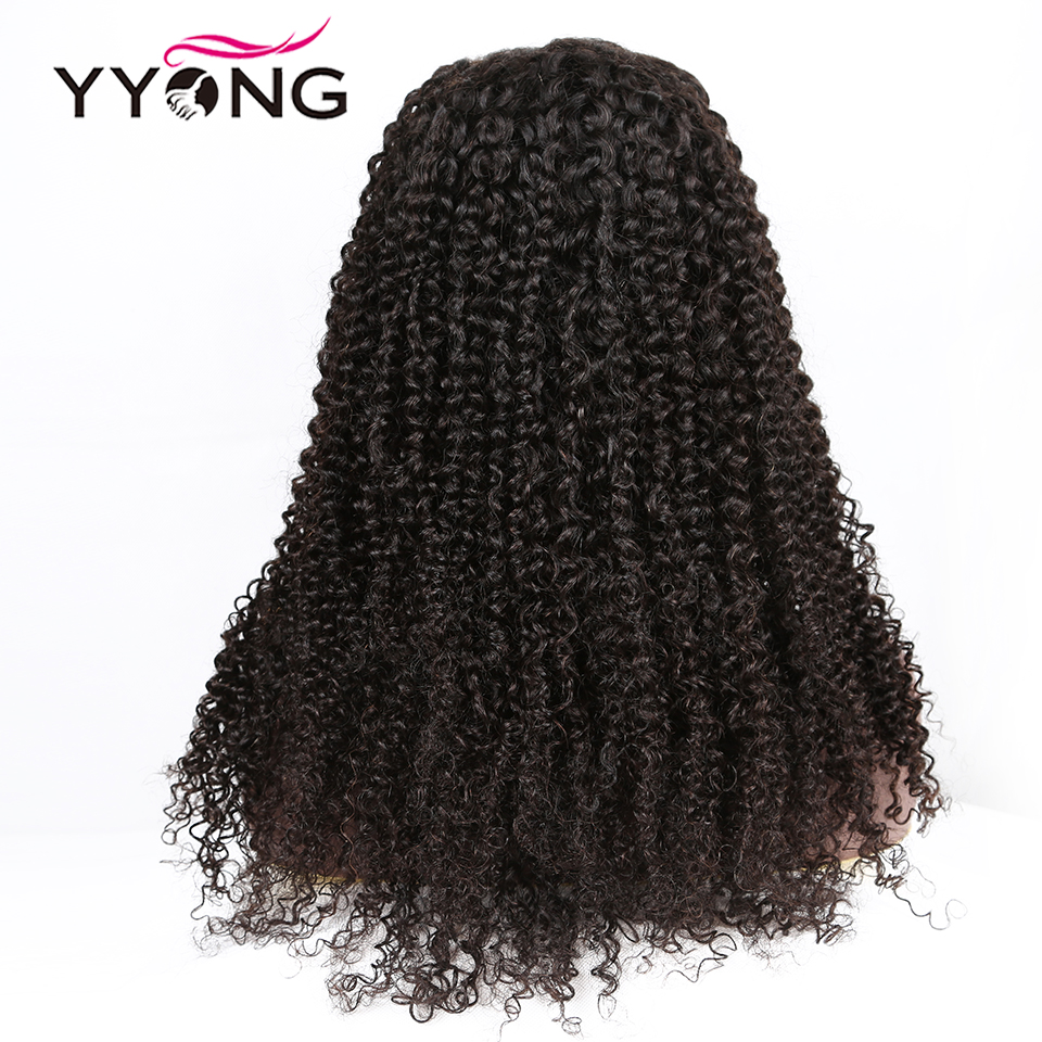 YYong 30INCH Long Mongolian Kinky Curly  Wigs 13x4 Lace Front  Wigs 130% Density  Lace Front Wigs 2