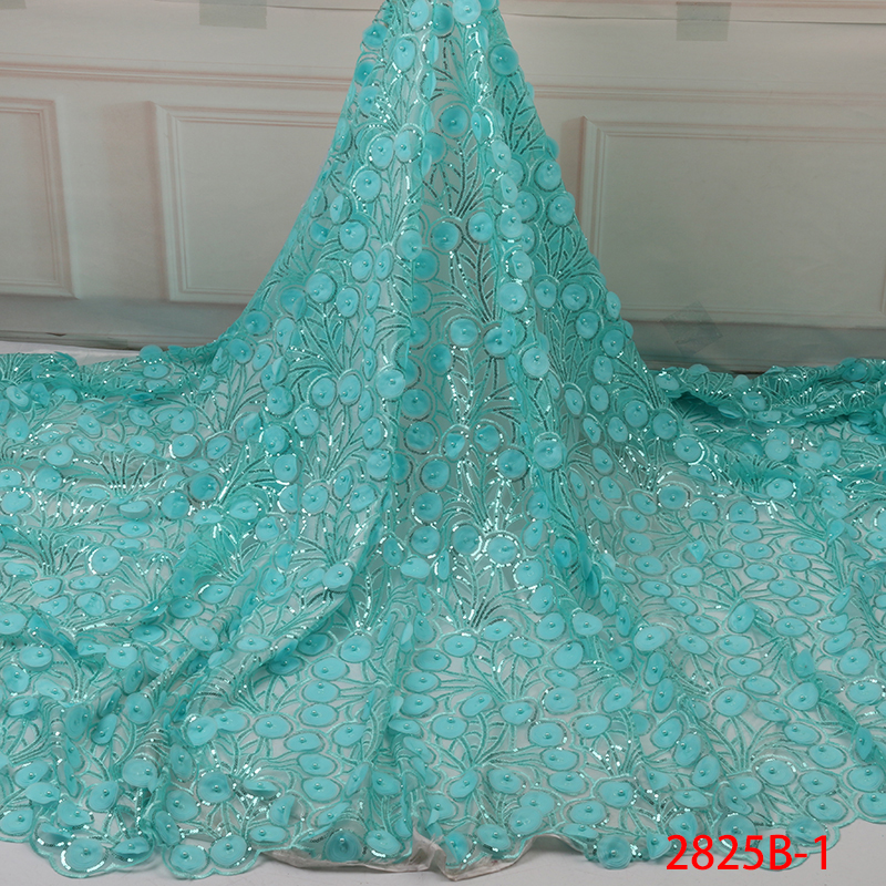 French Lace African Lace Fabric 2019 Hot Sale Nigerian Tulle Lace Fabric High Quality 3d French Lace Fabric Embroidery YA2825B-1