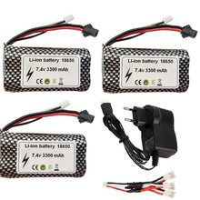 SM/JST 18650 7.4V 3300mAh Lipo Battery for wltoys 18301 18302 18311 MN99S D90 H101 Huina 1592 Rc Boats Cars Tanks Drones Parts