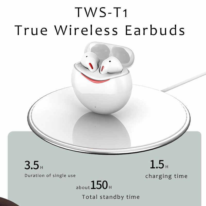 T1 TWS Bluetooth 5.0 Ốp Lưng Cảm Ứng Earburds Hifi 6D Stereo Không Dây Sạc Tai Nghe Tai Nghe Chơi Game Với Micro Kép