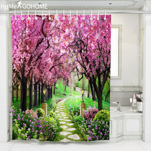 Pink Flower Print 3D Shower Curtains Bathroom Curtain Waterproof Bath Screens Home Decorations Multi-size