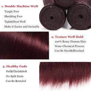 Image 5 - Düz saç demetleri anlaşma 1/3 adet 99J kırmızı Burg 4 doğal renk brezilyalı Remy insan saç uzatma demetleri saç dokuma Euphoria