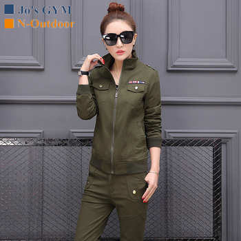 New Outdoor Slim Two-pieces Sport Suits Women Army Green Cotton Training Military Jacket And Pants Hiking Climbing Tactical Suit