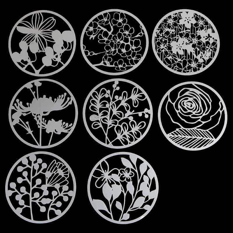 8 шт., круглые решетки, формы для рисования, пластиковые детские трафареты для картин, сделай сам, бумага, искусство, бумага, этикетка, Закладка, обучающая