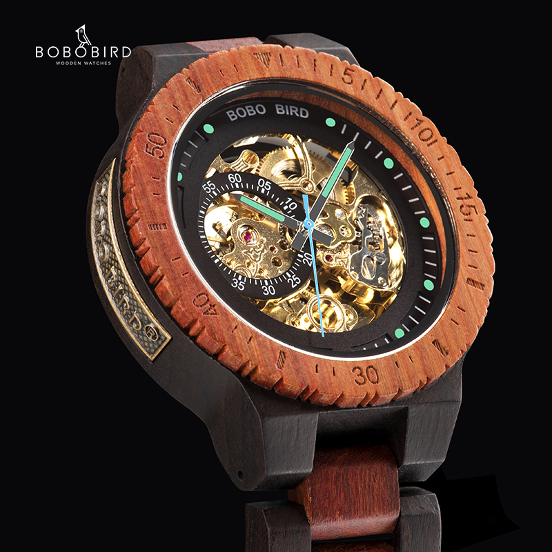 Wristwatch Mechanical-Watch Wood Customized Gift Masculino Bobo Bird Men Automatic Relogio