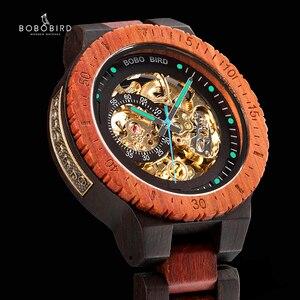 Image 1 - Relogio Masculino BOBO BIRD Mechanical Watch Men Wood Wristwatch Automatic часы мужские relojes para hombre Custom Gift Dropship
