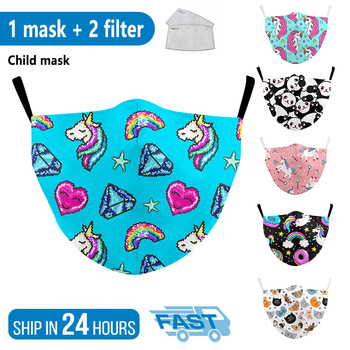 Reusable Fabric kids Mask Print Mouth Fabric Dust Mask Washable Cute Mask Print Pink Cartoon Protective Face Masks Children Mask image