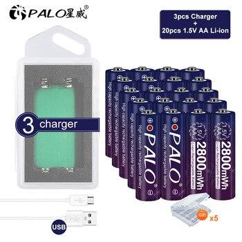 цена на Palo 1.5v aa li-ion lithium-ion battery for 1.5 V aa 2A with 2slots aa Li-ion Battery Charger smart charger