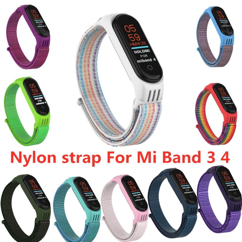 Nylon strap Bracelet For Xiaomi mi band 3 4 strap Smart bracelet Soft Sport Wristbands For Mi band 4 3 NFC Smart watch strap(China)