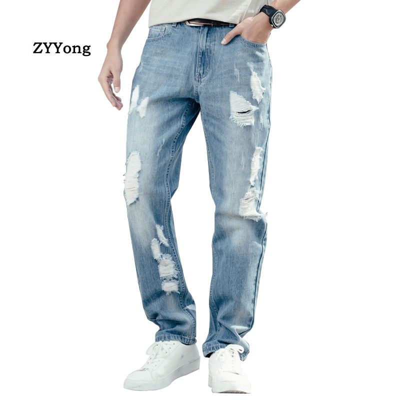 Spring And Autumn Men Hole Baggy Jeans Straight Large Size Wide Leg Denim Pants Blue Leisure Hip Hop Streetwear Ragged Trousers