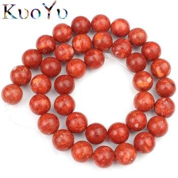 Cuentas de Coral de hierba roja Natural cuentas espaciadoras redondas para hacer joyería accesorios de pulsera Diy 6 8 10 12 mm 15 Strand/pulgadas