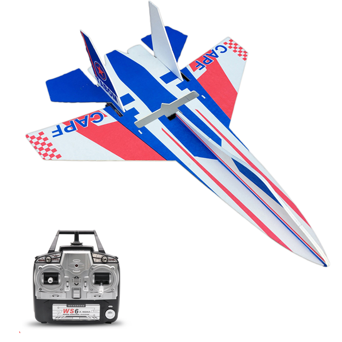 NewSu 27 2.4G 6CH DIY Remote Control Airplane Fixed Wing Plane Assembly Kit - Swat (No Assembly Tools)