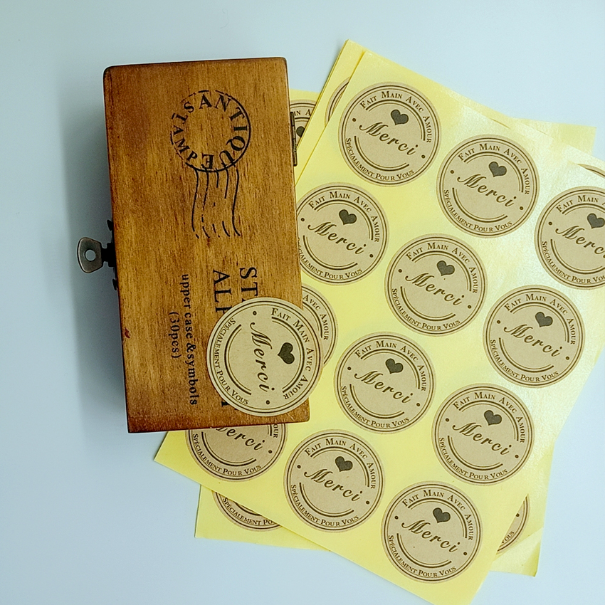 120PCS/lot Lovely Round black heart Merci self-adhesive Sealing sticker DIY Gifts  Baking Decoration label