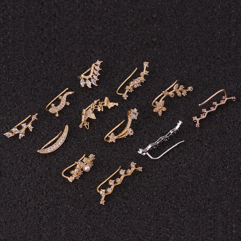 1 PCS Trendy Lovely Butterfly Flower Leaf Zircon Ear Clip Cuff Earrings Women Cute Silver Color CZ Piercing Earrings Ear Jewelry