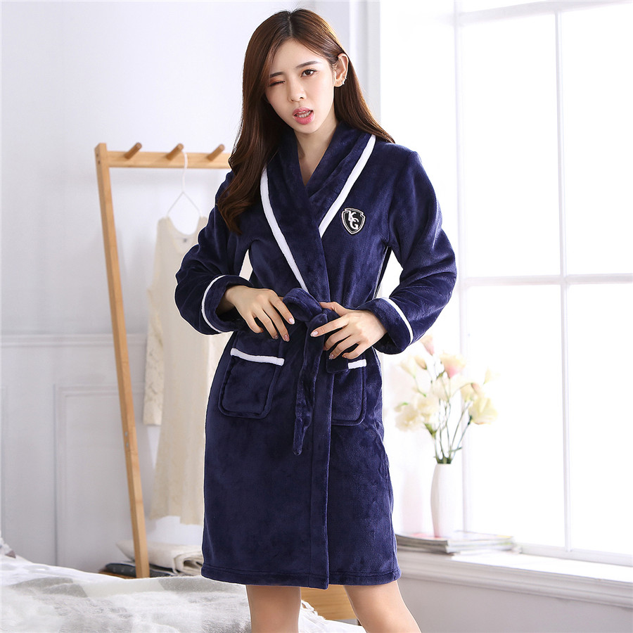 Elegant Solid Plus Size Women Sleepwear Homewear Winter Flannel Keep Warm Kimono Robe Gown Casual Soft Bath Gown Full Pajamas